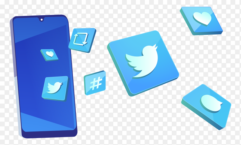 3D twitter icons with smartphone on transparent background PNG
