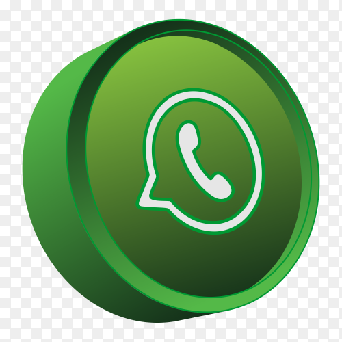 3D whatsapp icon on tranparent background PNG