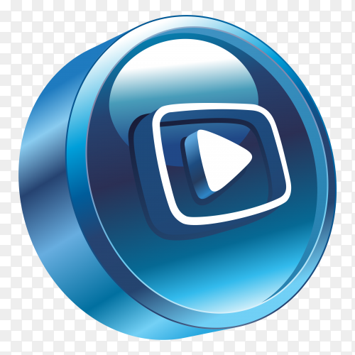 3D youtube Logo on transparent background PNG