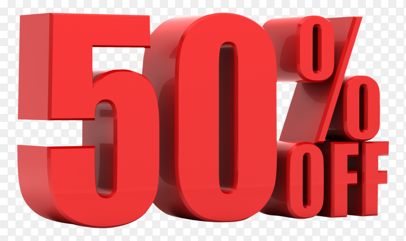 50 percent off promotion on transparent background PNG