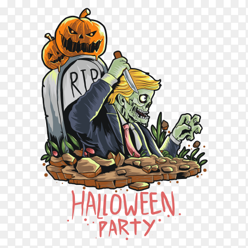 A halloween zombie with a pumpkin head on transparent background PNG