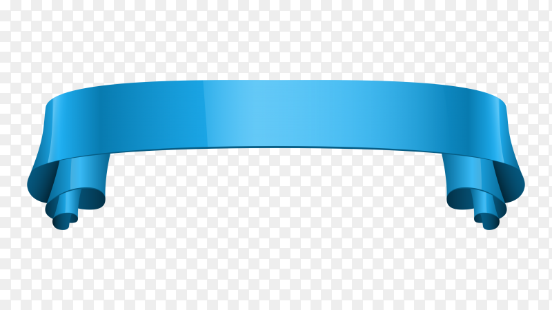 Abstract Blue Ribbon banner on transparent background PNG