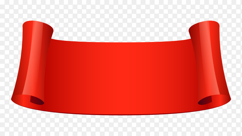 Abstract red Ribbon banner on transparent PNG