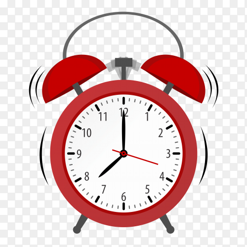 Alarm with red color on transparent background PNG