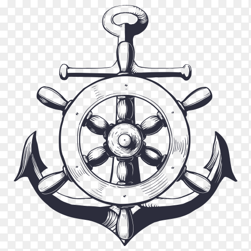 Anchor with wheel ship on transparent background PNG