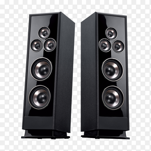 Audio system stereo column on transparent background PNG