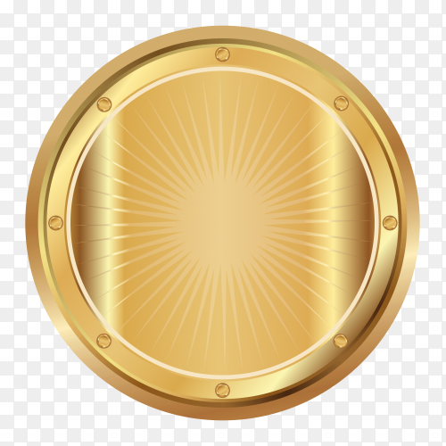 Award golden blank medal on transparent PNG