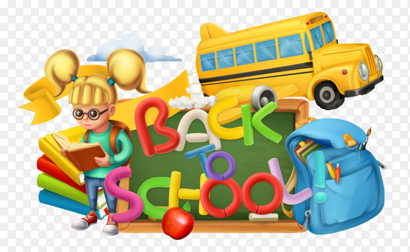 Back to school banner style on transparent background PNG