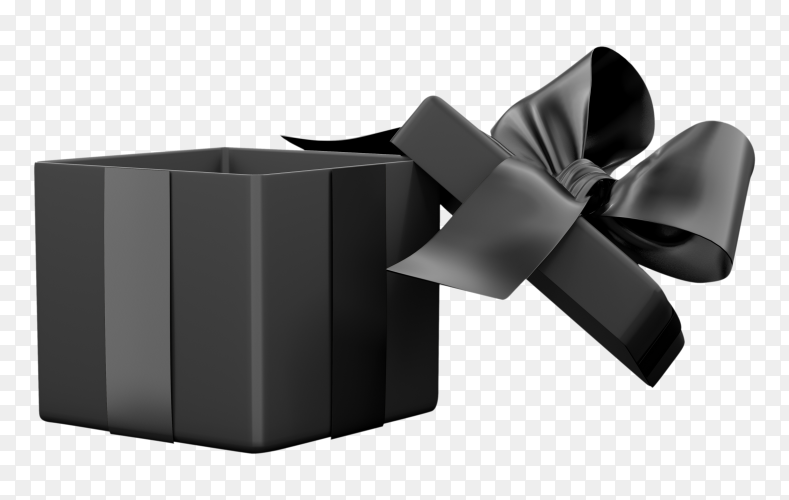 Balck gift box present isolated on transparent background PNG