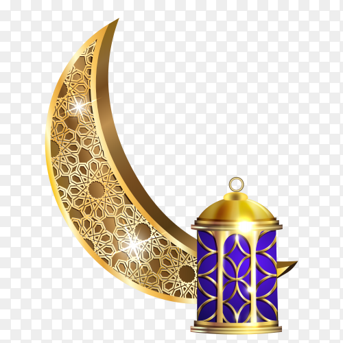 Beautiful decorative moon ramadan kareem on transparent background PNG