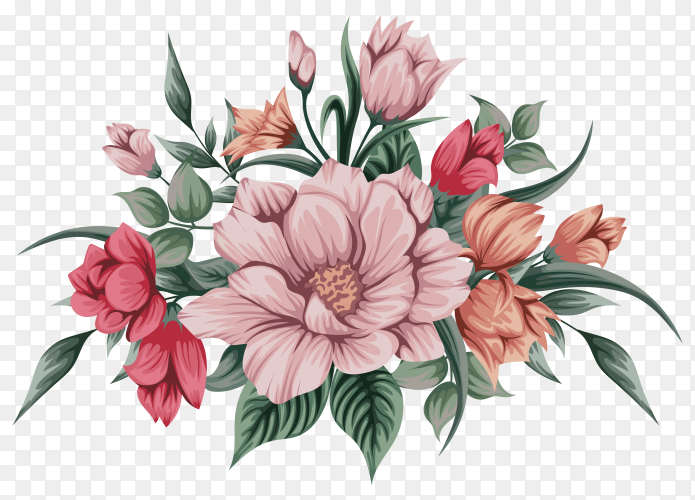 Beautiful watercolour bouquet flowers on transparent background PNG