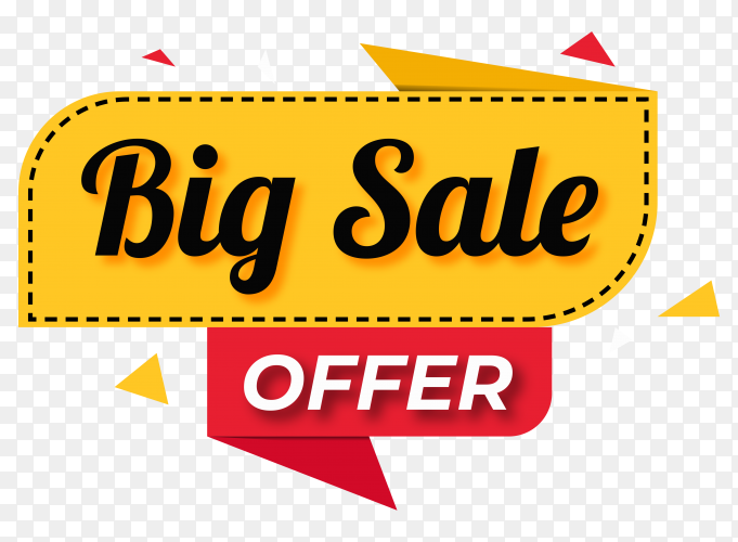Big sale banner design on transparent background PNG