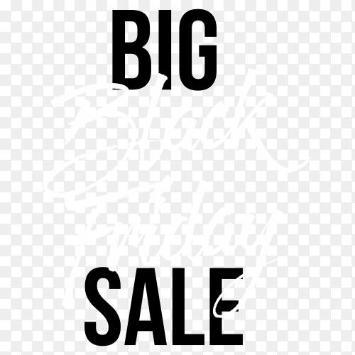 Big sale black friday poster on transparent background PNG