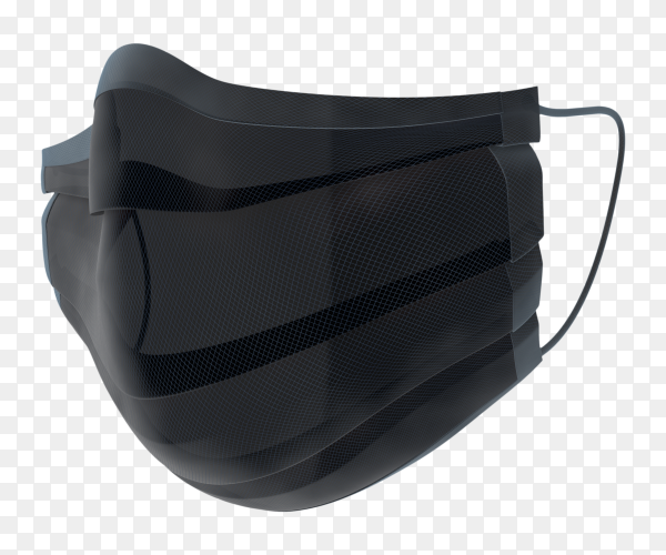 Black doctor mask on transparent background PNG