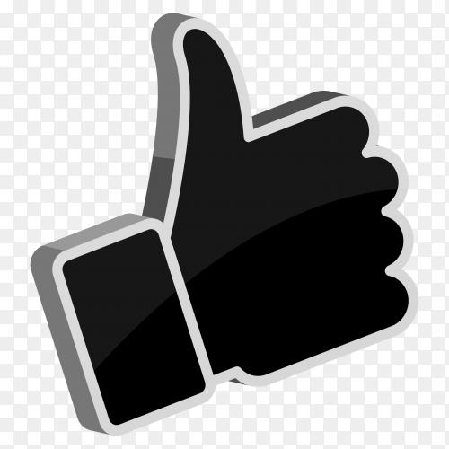 Black facebook like icon design on transparent background PNG