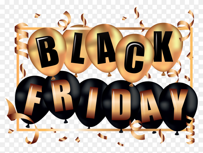 Black friday banner with gold black balloons with text strearmers on transparent background PNG