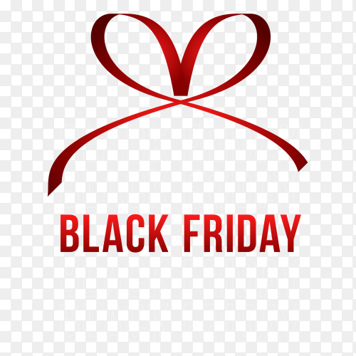 Black friday banner with red ribbon bow on transparent background PNG