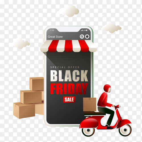 Black friday online shopping with courier delivering goods on transparent background PNG