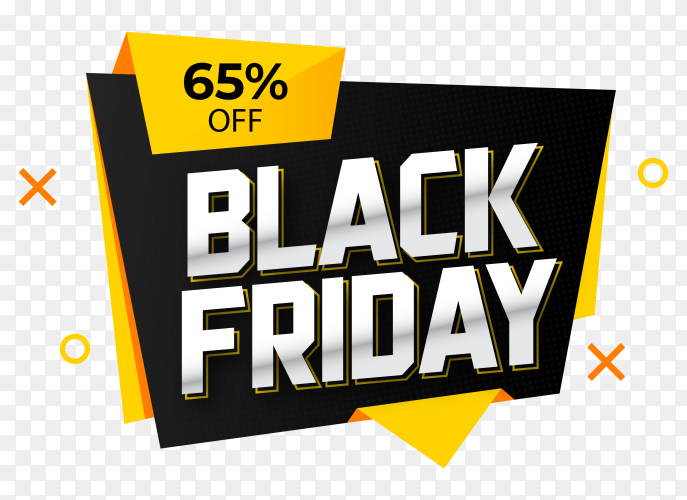 Black friday sale banner design on transparent background PNG