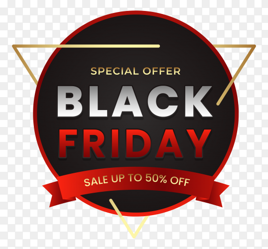 Black friday sale banner on transparent background PNG