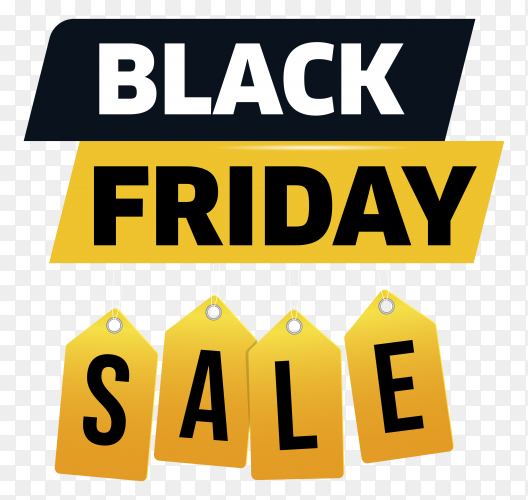 Black friday sale banner template on transparent PNG