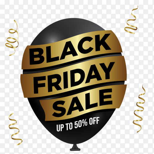 Black friday sale banner template on transparent background PNG