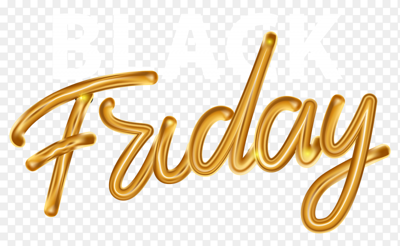 Black friday sale banner with gold capital letters on transparent background PNG