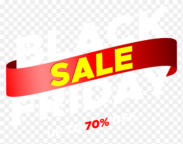 Black friday sale banner with red ribbon illustration on transparent background PNG