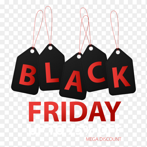 Black friday sale llustration banner template on transparent background PNG