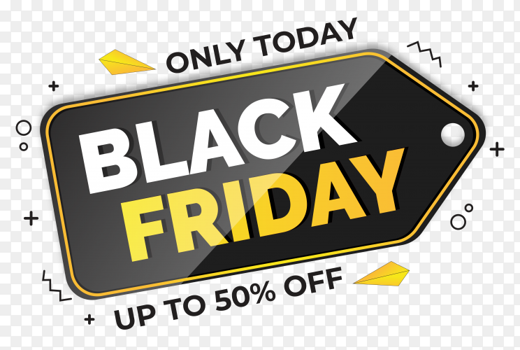 Black friday sale poster on transparent background PNG