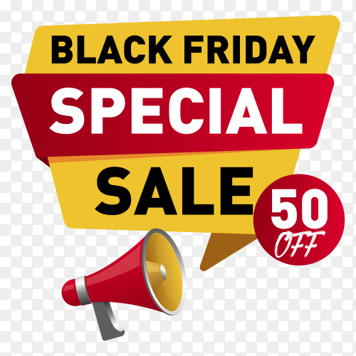 Black friday sale poster template on transparent background PNG