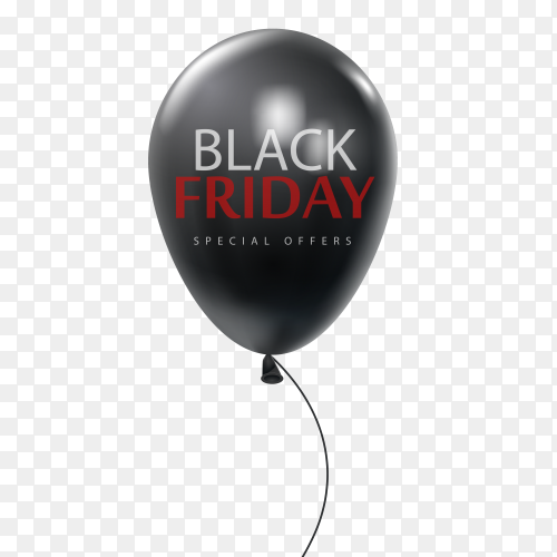 Black friday sale with shiny balck balloon and lettering hand written text on transparent background PNG