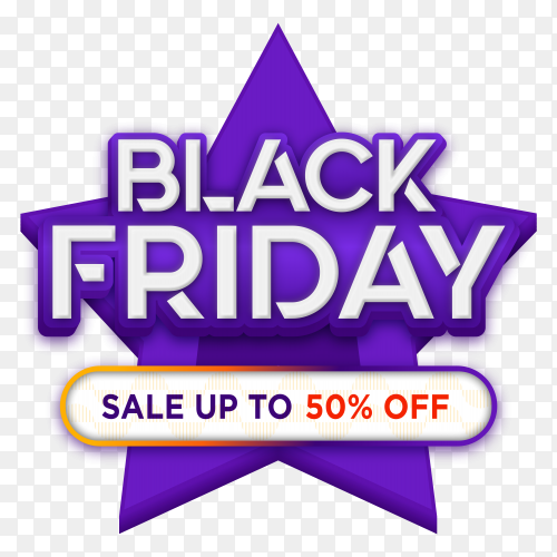Black friday sales ad banner on transparent PNG