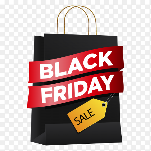 Black friday sales ad banner on transparent background PNG