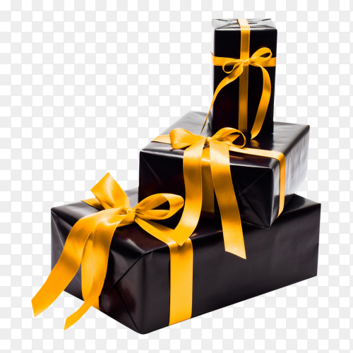 Black gifs boxs with yellow satin ribbons on transparent background PNG