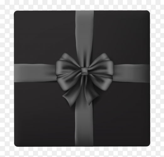 Black gift box on transparent background PNG