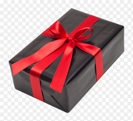 Black gift box with red satin ribbon and bow over on transparent background PNG