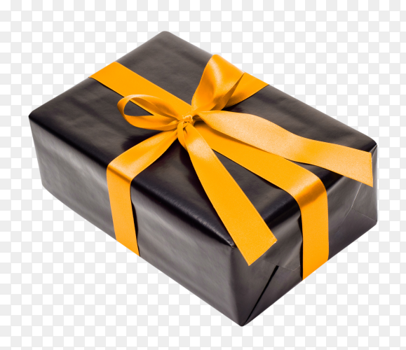 Black gift box with yellow satin ribbon and bow on transparent background PNG
