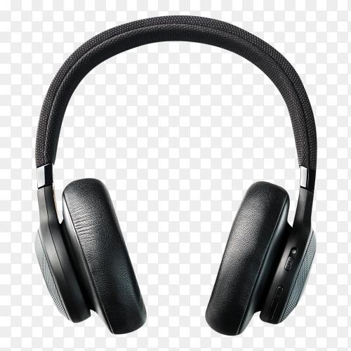 Black headphone on transparent background PNG