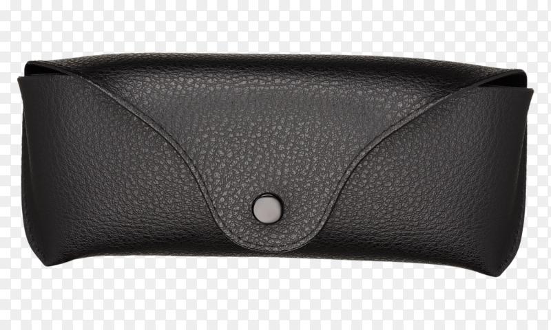 Black leather glasses case on transparent background PNG