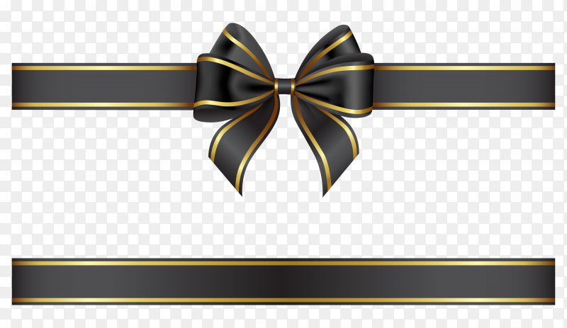 Black ribbon bow with gold edging on transparent background PNG
