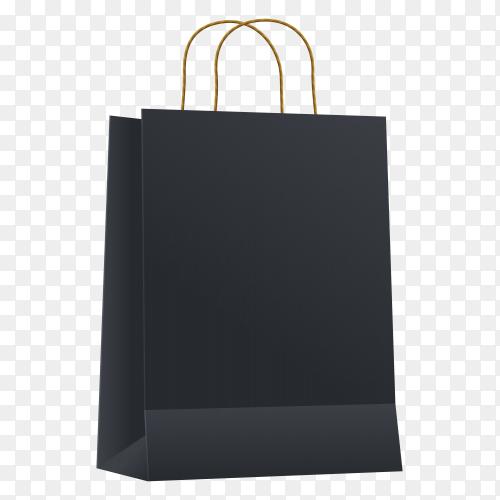 Black shopping bag on transparent background PNG