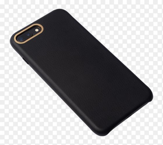 Black smartphone case on transparent background PNG