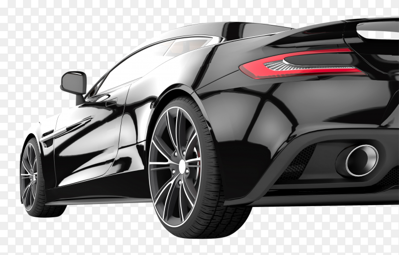 Black sport car isolated on transparent background PNG