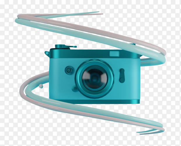 Blue camera on transparent background PNG