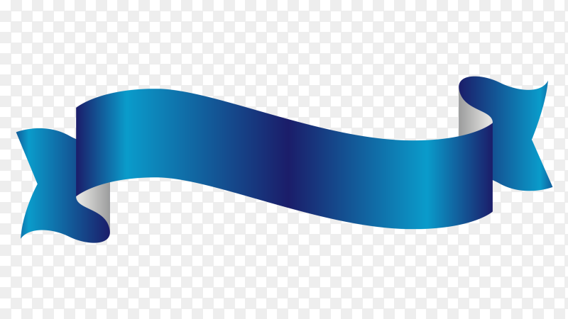 Blue Ribbon banner on transparent background PNG