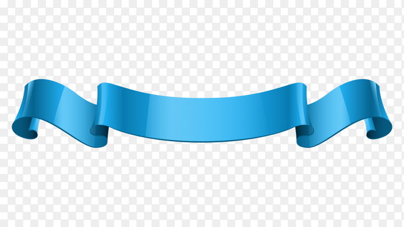 Blue Ribbon banner style on transparent background PNG