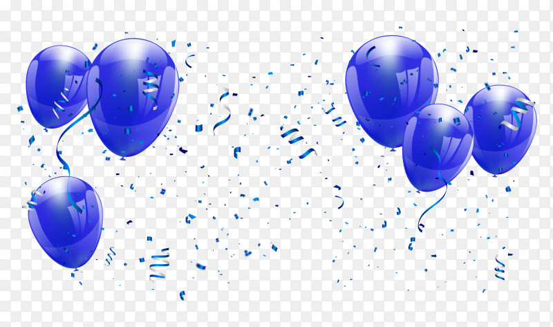 Blue balloons Illustration on transparent background PNG