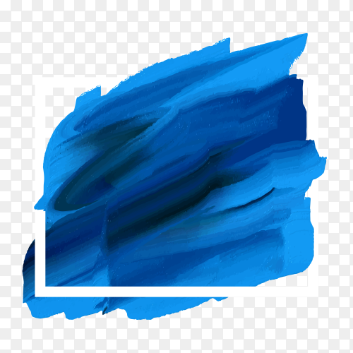Blue watercolor splash banner on transparent background PNG