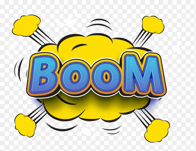 Boom text style font on transparent background PNG